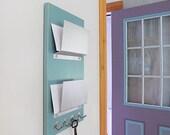 LAKE: mail organizer holder double pocket wall mount blue
