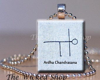 Scrabble Tile Pendant Necklace - Yoga Stickman - Ardha Chandrasana- FREE Silver Plated Ball Chain (YOGAMAN1)