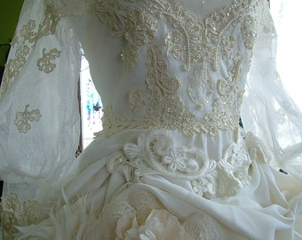 Vintage Wedding Dress Altered art wedding gown steampunk victorian tea length original handmade weddings
