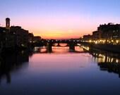Florence Sunset, Florence Photograph, Italy Photography, Fine Art Photography, Home Decor, Travel Photography, Purple, Vibrant, Sunset