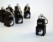Robot Zipper Pull, Key Ring Key Chain, Functional Art, Black Yin Yang Bot, Keychain, Keyring, Geekery, Back to School