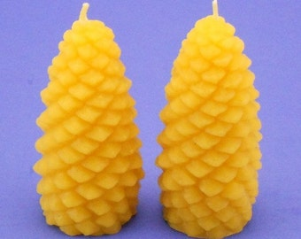 Beeswax Candles, Pair of Pine Cone Candles, Pure Beeswax Votives, Pinecone Votives, Home Deecor Candles, Housewarming Gift