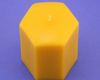Organic Beeswax Candle, 2.7 x 3 Pure Bees Wax Candle Pillar, Hexagon Beeswax Candle, Burns Brighter and Cleaner, Epic Beeswax Candle