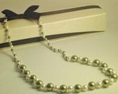 SALE - Hand Knotted Swarovski Pearl Necklace in Light Green and White w/ Sterling Silver Spring Clasp