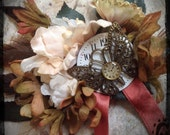 Time Traveler - Steampunk hair barrette// antique clock face, butterfly, Ivory, Blooming Flower