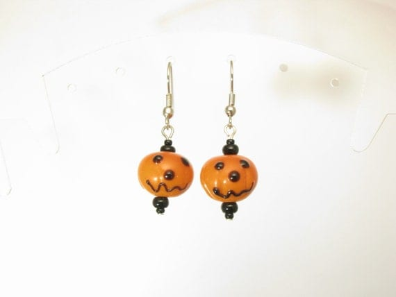 Lampwork Glass Happy Pumpkin Earrings by Sweetfire Creations