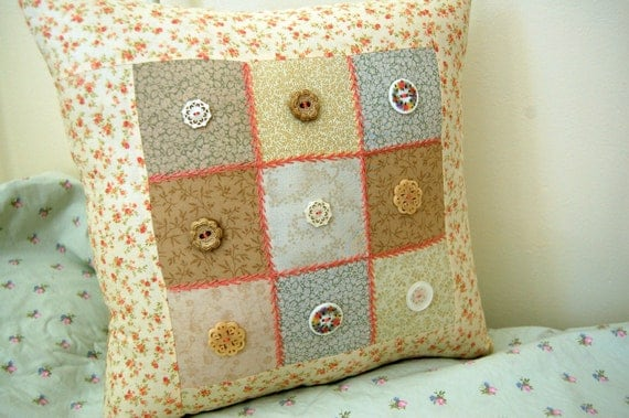Decorative Pillow, Patchwork Pillow with Vintage Style Buttons/ Hand Embroidered Pink Stitching