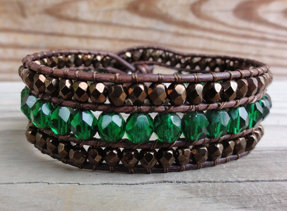 Emerald Green and Bronze Czech Glass Beaded Leather Cuff Bracelet - Leather Wrap Bracelet