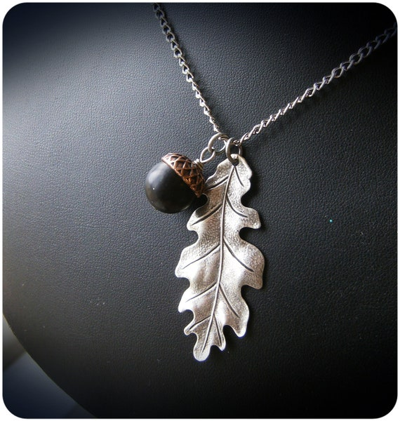 Oak Leaf and Acorn Mixed Metal Necklace
