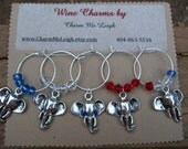 USA Republican elephant wine glass charms political red white blue -  Election