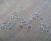 Bicycle cyclist wine glass charms adorned with swarovski crystals
