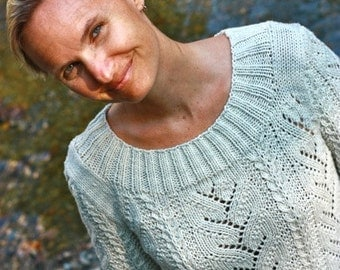 Knitting Pattern PDF- Cable and Lace Adiri Pullover