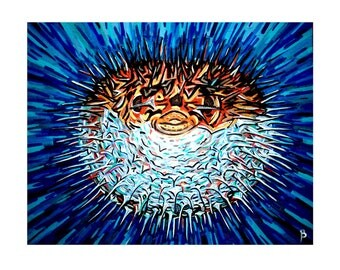 the Dark Side of the Blowfish Art Print on Cardstock