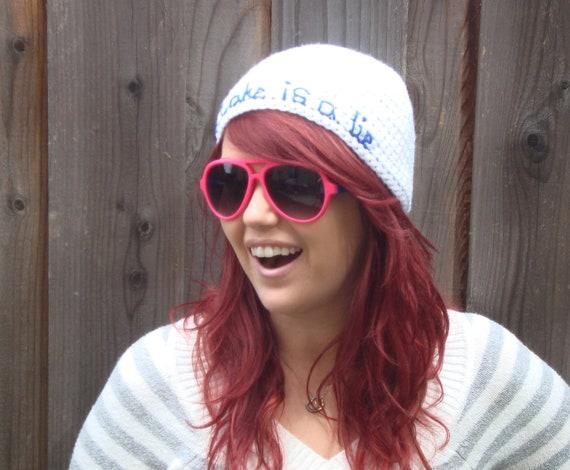 "Portal ""The Cake is a Lie"" Hat (crochet beanie hat, geekery)"