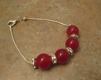 ruby bracelet, ruby jewelry, red ruby jewelry, red ruby gemstone, .925 Sterling Silver bracelet and Chain crystal spacers