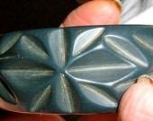 bakelite vintage carved geometric leaves indigo cuff bangle bracelet