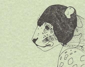 Leopard. Illustration art print, black ink on green paper.