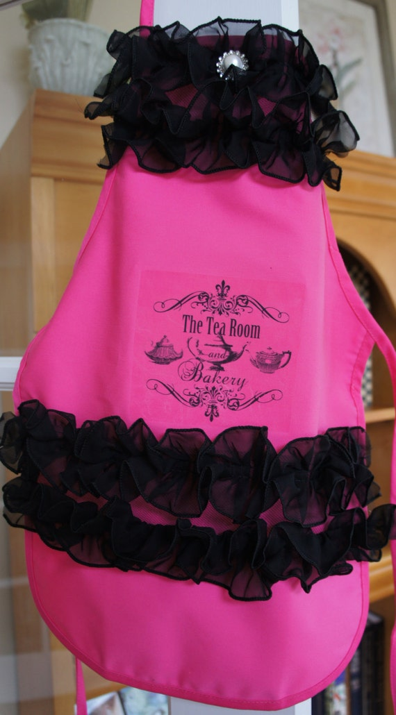 Little Girl Tea Room Ruffled Apron - Black and Hot Pink
