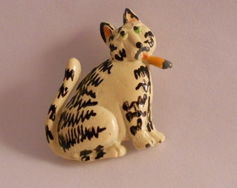 Whimsical Tabby Cat Pin