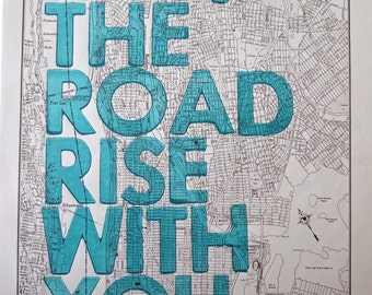 Upper Manhattan and the Bronx / May The Road Rise With You/ Letterpress Print on Antique Atlas Page