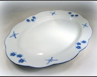 """Classy Vintage Cordon Bleu Platter SALE Hand Painted Porcelain 14"""" Oval Shape C. Steele Collection for Porcelaine de Chine Cordon Bleu"""
