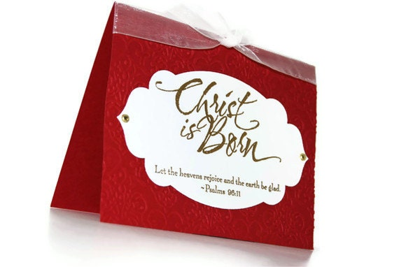 Items similar to Christ is Born Stamped Christmas Card ...