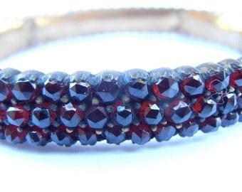 Vintage Garnet Bracelet Antique Genuine Czech Red Stones Bangle Bohemian Victorian Garnet Rose Cut Garnet Three Rows Multi Rows