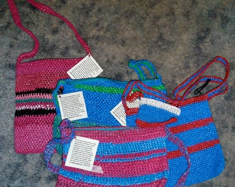 Handmade Recycled Plastic Weave Bags-from Nicaragua- All profits to charity