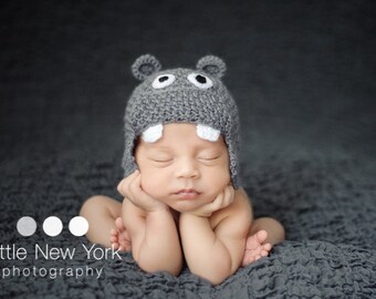 Newborn photo prop, newborn hat, baby hippo newborn/ baby hat.newborn knit hat, newborn boy, newborn girl, newborn props, baby hat, newborn