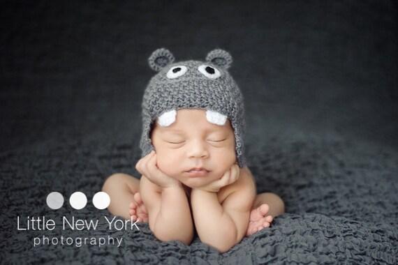Newborn photo prop, newborn hat, baby hippo newborn/ baby hat.newborn knit hat, newborn boy, newborn girl, newborn props, baby hat, newborn