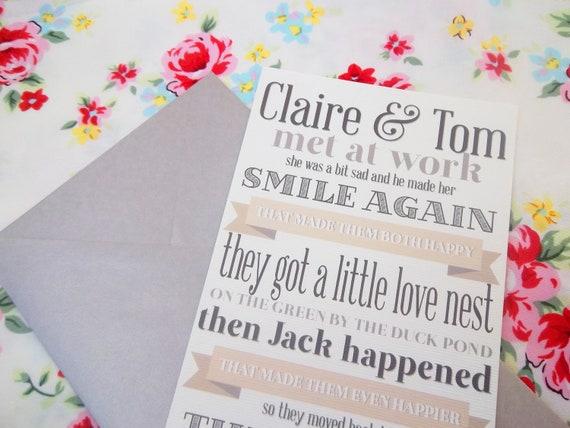 Items Similar To Love Story Wedding Invitation On Etsy