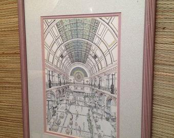 "Vintage Framed Print by Kathy Vogler Indianapolis Indiana  ""Grand Hall"" Central Station train"