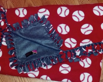 Baseball - Softball with Solid Color Handtied Fleece Blanket - In Your Team Colors