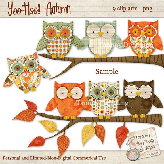 Boho Owls Clip Art Fall clip art Owls Nursery Art