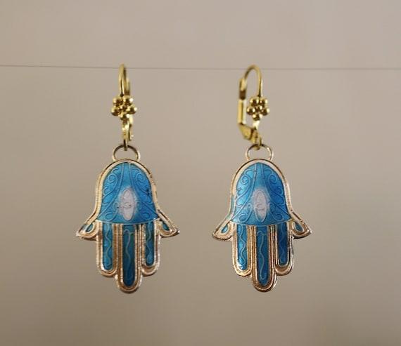 Hamsa earrings, evil eye earrings, dangle earrings, Cloisonne Hamsa dangle earrings