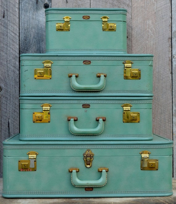Vintage Olympic Luggage Four 4 Piece Suitcase Set Light Green