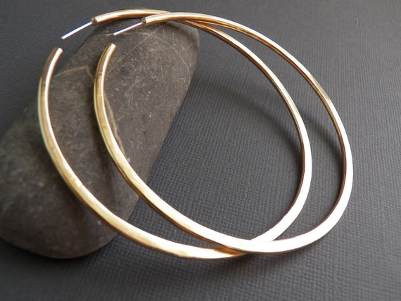 CUSTOM Order for Malikah - Large BRASS Hoops - Cold Forged - Handcrafted Hoops - Sterling Silver Post Hoops
