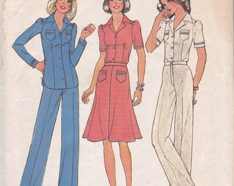 Simplicity 6860 Size 12 Bust 34 dress top pants sewing pattern from 1975