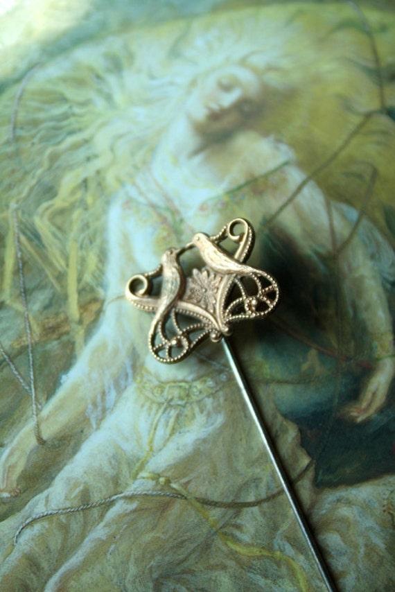 Vintage Brass Lovebirds Pin