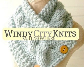 INSTANT DOWNLOAD Knitted Scarf Pattern includes FREE pattern for Chunky Mitts