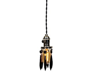 Simply Modern Bare Bulb Chrom Socket Mini Black Crystal Shade Shabby Chic Pendant Light