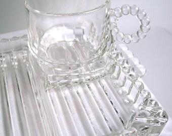 Vintage Hazel Atlas Glass Snack, Sip and Smoke Set for 4