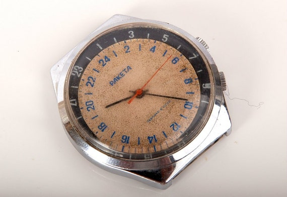 Rare 24 Hours Soviet WRISTWATCH RAKETA 4 Polar Explorers / Submarines / Miners