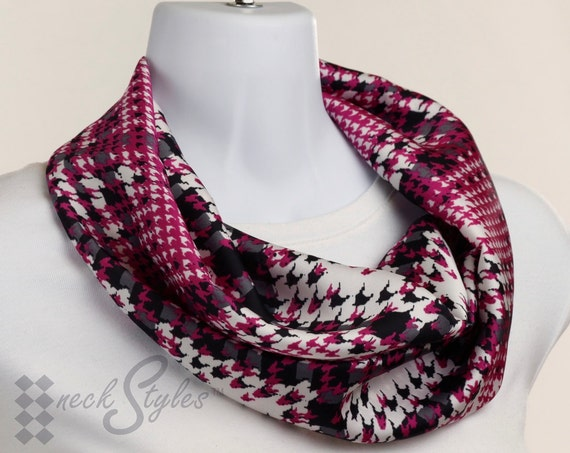 Trendy Infinity Scarf Silky Hot Pink, Gray and White Houndstooth