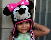 INSTANT DOWNLOAD Minnie Mouse Crochet Beanie Ear-flaps PDF Pattern - To Disneyland Disney-world Trip- 3 Sizes