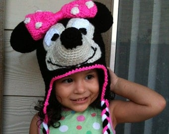INSTANT DOWNLOAD Minnie Mouse Crochet Beanie Ear-flaps PDF Pattern - To Disneyland Disney-world Trip- 3 Sizes