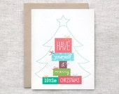 Christmas Card Set of 10 - Merry Little Christmas, Eco Friendly Holiday Cards