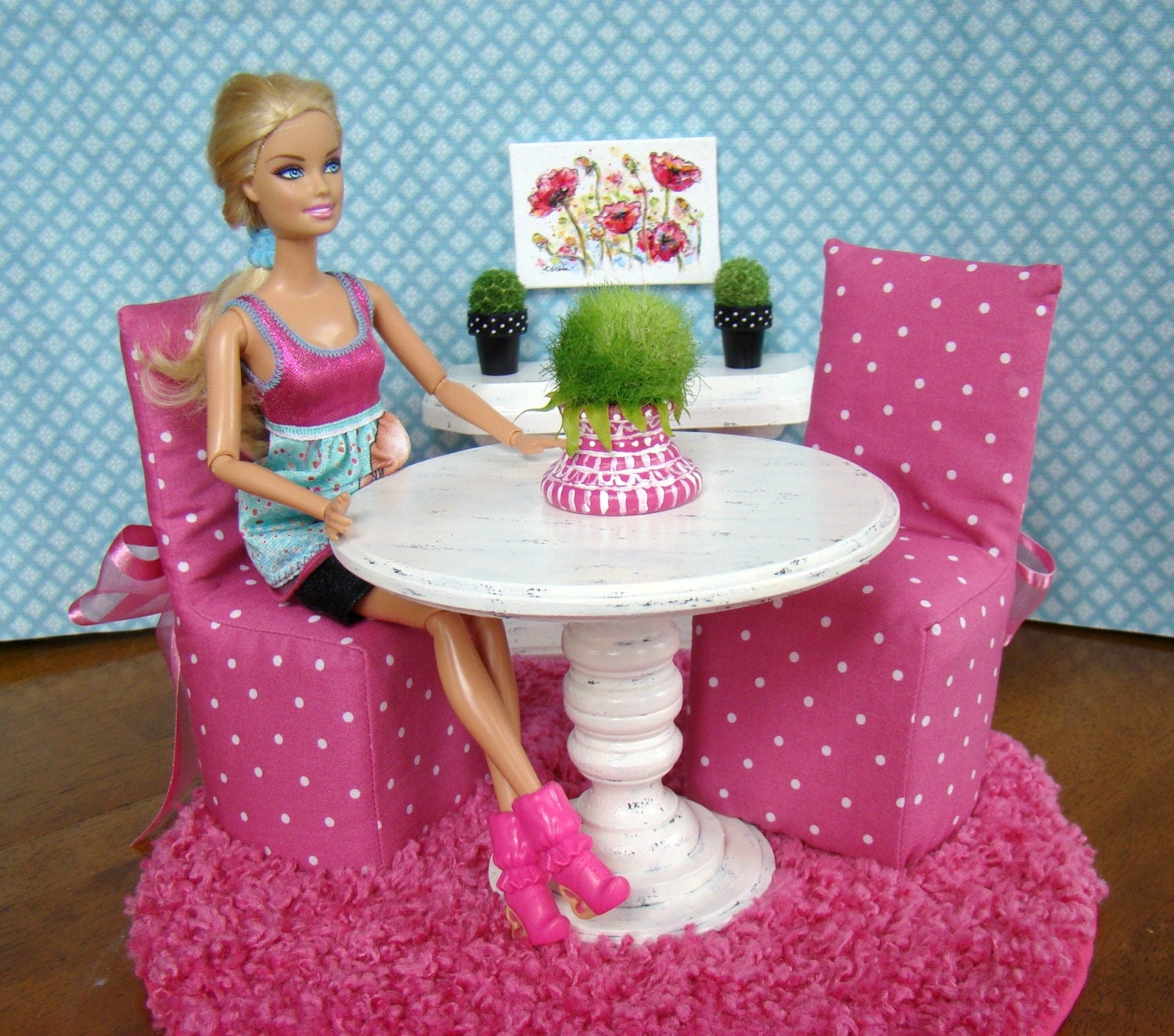 Barbie Furniture Dining Room Set with Pedestal Table 2 : ilfullxfull3846448885aqz from www.etsy.com size 1500 x 1324 jpeg 468kB