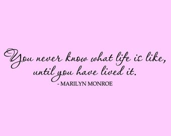Marilyn Monroe Wall Decal Vinyl Live Life Wall Quote Living Room Bedroom Decor
