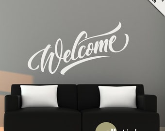 Wall Decal : Welcome Entryway Wall Decal Modern Removable Vinyl Wall Art Quote Sticker Home Decor WD0269